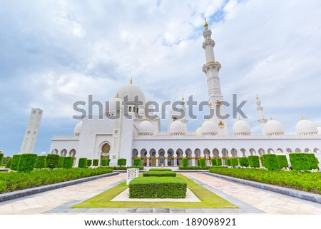Sheikh Zayed Grand Mosque in Abu Dhabi, the capital city of UAE - stock photo