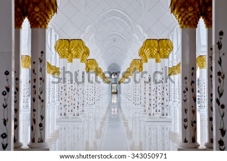 Sheikh Zayed Grand Mosque in Abu Dhabi UAE - stock photo