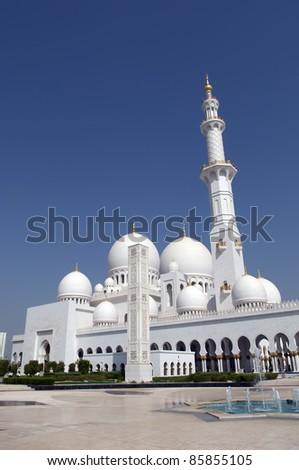 Sheikh Zayed Mosque Abu Dhabi United Arab Emirates - stock photo