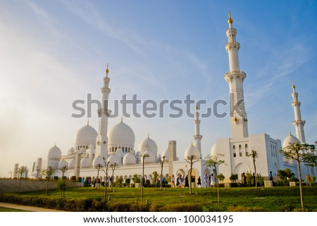 Sheikh Zayed Mosque at Abu-Dhabi, UAE, Uniter Arab Emirates - stock photo