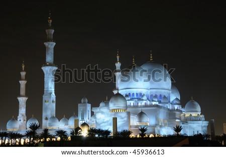 Sheikh Zayed Mosque illuminated at night. Abu Dhabi, United Arab Emirates - stock photo