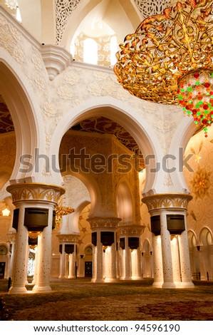 Sheikh Zayed mosque in Abu Dhabi inside - stock photo