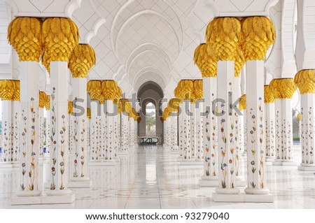Sheikh Zayed Mosque in Abu Dhabi, United Arab Emirates - detail of columns - stock photo