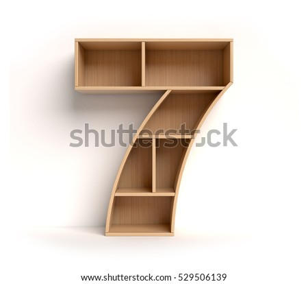 shelf font 3d rendering letter 7