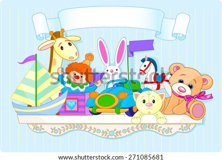 Shelf full of baby toys with space for copy\text