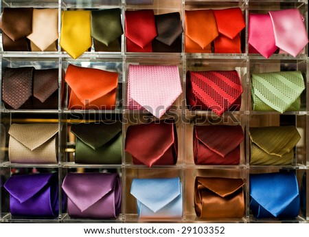 Shelf full of fine silk neckties in a Italian textile store - stock photo