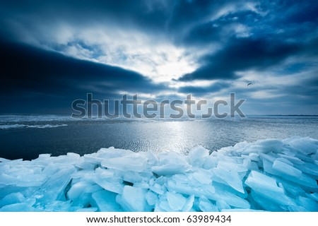 shelf ice and sunset in Marken a small village near Amsterdam The Netherlands
