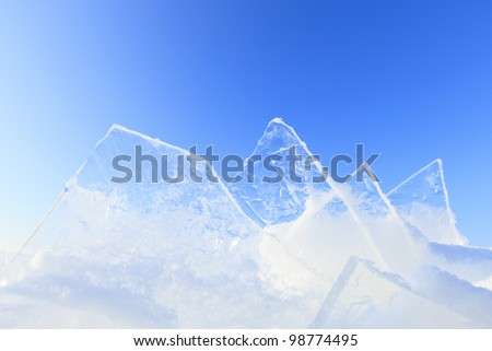 Shelf ice in winter with a beautiful sunset - stock photo