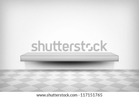 Shelf on the wall, White / gray texture or background