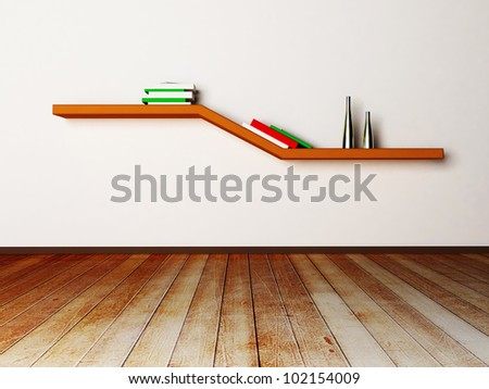 shelf on the wall with the books and the vases - stock photo