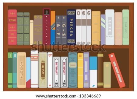 Shelf with books - stock photo
