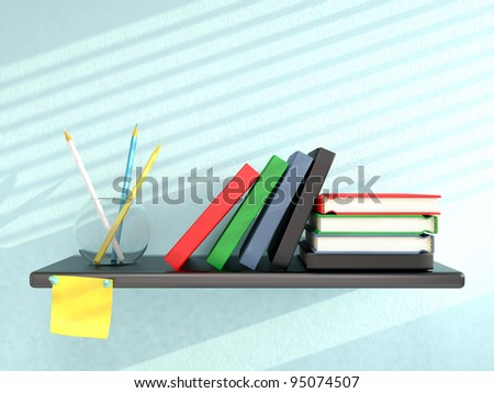 Shelf with books, pencils, and sticky note on blue wall. 3D render - stock photo