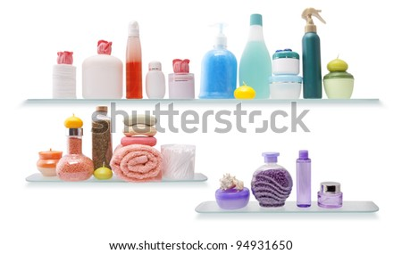 Shelf with cosmetics in a bathroom on the white background - stock photo