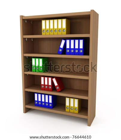Shelf With Files Folders isolated on white - 3d illustration - stock photo