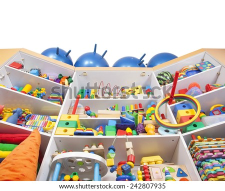 Shelf with many colored toys