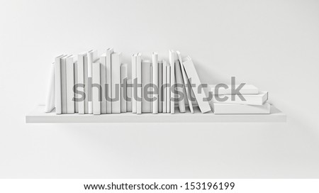 Shelf with White Book on the White Wall, Concept, Render - stock photo