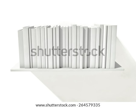 shelf with white books, 3d render - stock photo