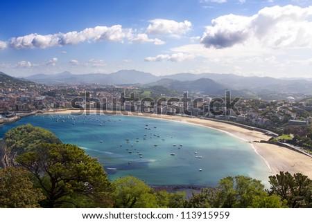 Shell Beach in San Sebastian, Basque Country, Spain - stock photo