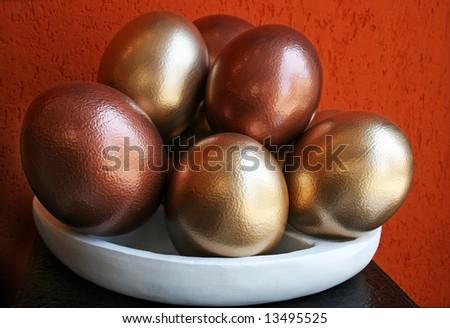 Shell   decorative ostrich eggs  closeup - stock photo