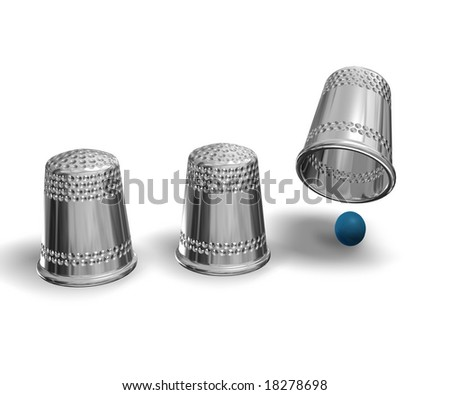 shell game isolated on white - stock photo