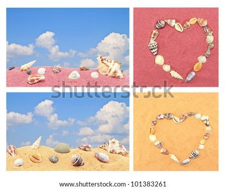shell heart sea sand blue sky in summer - stock photo