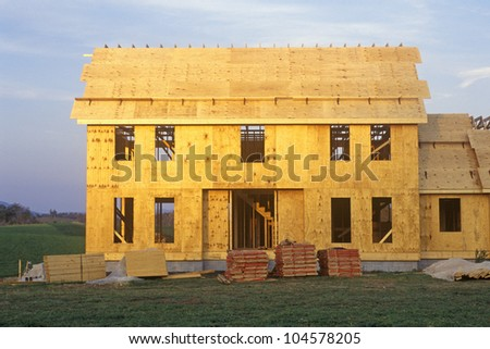 Shell of home under construction, West VA - stock photo