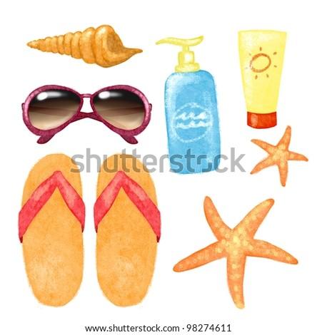 Shell, sunglasses, starfish, sun cream and flip flops isolated on white, beach theme - stock photo