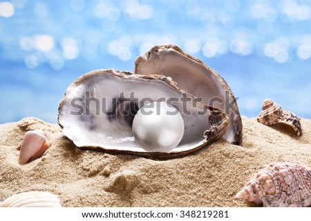 Shell with a pearl on a sea sand. - stock photo