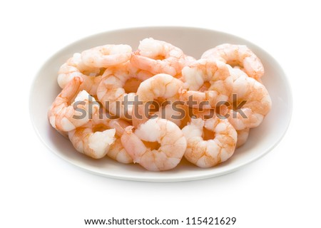 shelled and cooked king prawns isolated on a white background - stock photo