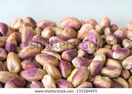 Shelled Pistachio Nuts Closeup Piled Up