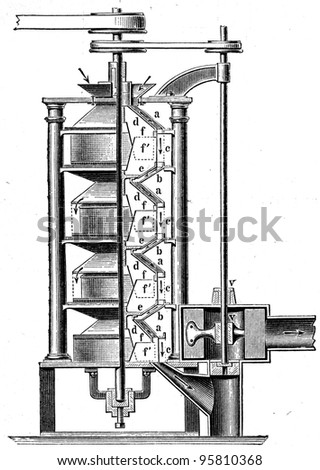 Shelling Machine - an illustration of the encyclopedia publishers Education, St. Peterburg, Russian Empire, 1896 - stock photo