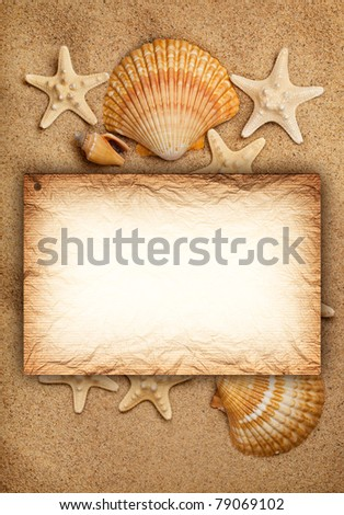 Shells, sand and blank card - summer background - stock photo