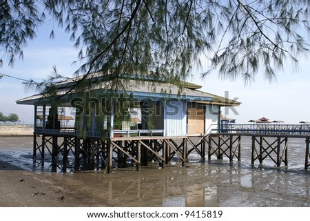 Shelter at the beach - stock photo
