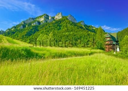 Shelter near The Three Crowns Massif in The Pieniny Mountains - stock photo