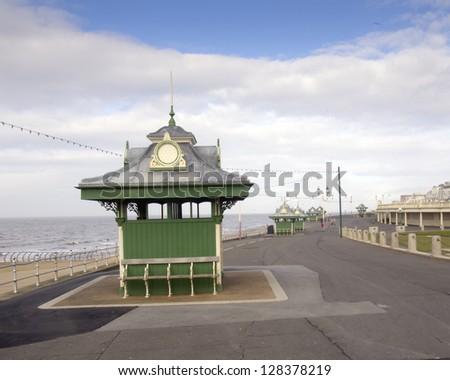 Shelter on Blackpool promenade,Lancashire,England - stock photo