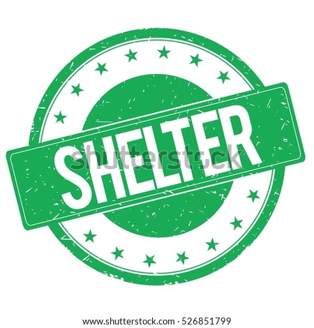 SHELTER stamp sign text word logo green.