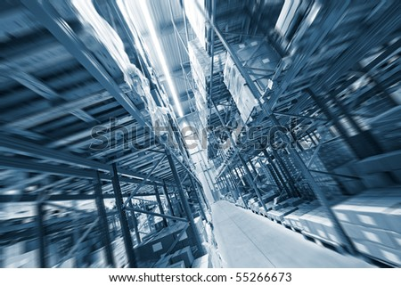 Shelves, full of boxes in a huge warehouse, ready for transport to the customer - stock photo