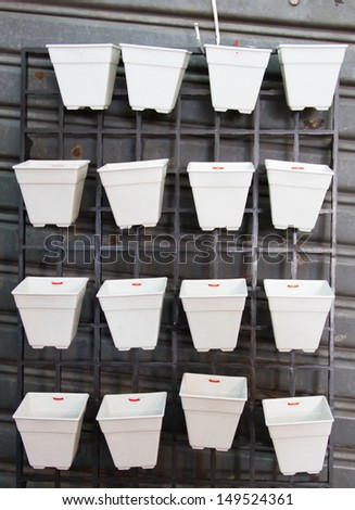 Shelves made from plastic pot - stock photo