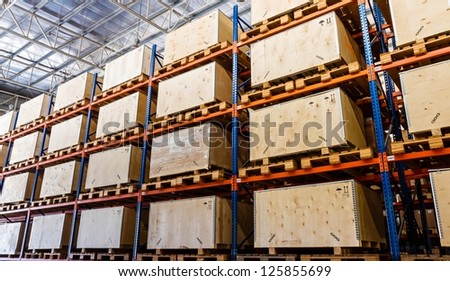 Shelves manufacturing storage in a warehouse - stock photo