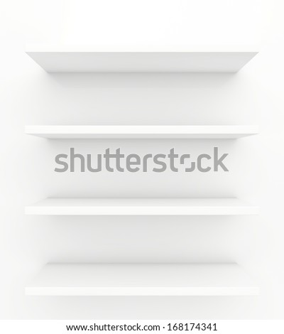shelves on a white background. 3d render. - stock photo