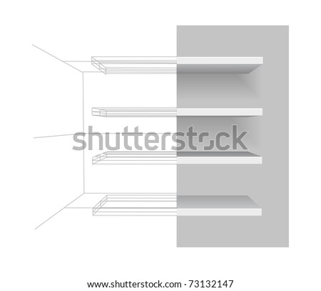 shelves on gray background - stock photo