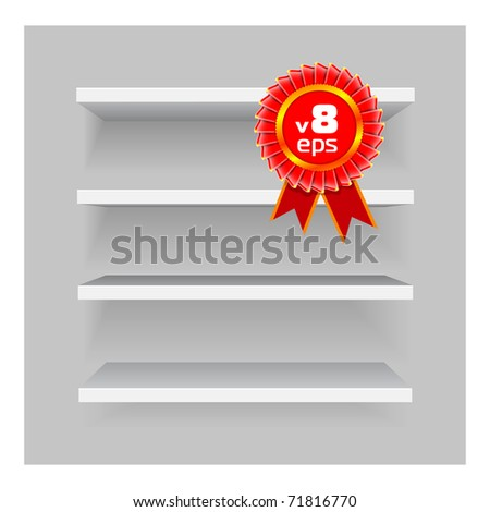 shelves on gray background. Easy to edit and re-size - stock photo