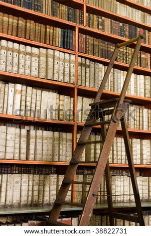 Shelves with old books in the library and wooden stepladder - stock photo