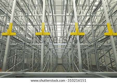 Shelving System Rails in Automated Warehouse - stock photo