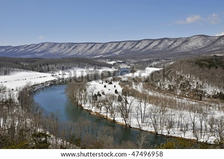 Shenandoah River in Winter Horizontal With Copy Space - stock photo