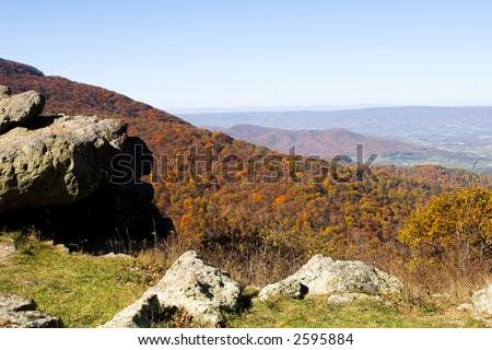 Shenandoah Vally photographed from the Shenandoah National Park, Virginia. - stock photo