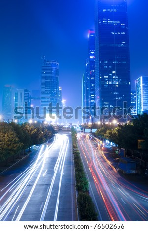 Shenzhen, China, and urban transport in the night - stock photo