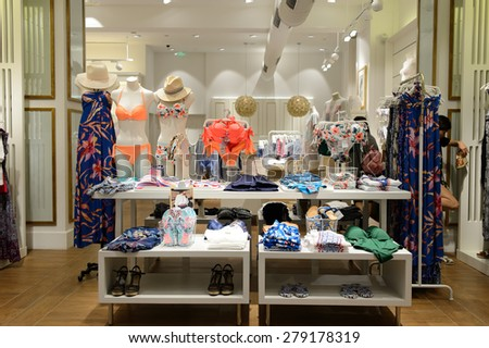 SHENZHEN, CHINA - MAY 17, 2015: shopping center interior. Shenzhen is one of major city in the south of China, situated immediately north of Hong Kong Special Administrative Region.