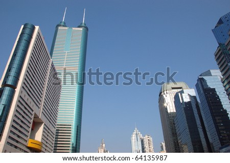 SHENZHEN, CHINA - OCTOBER 31: Modern skyscrapers in Luohu district, Shenzhen on October 31, 2010. This year is 30th anniversary for Shenzhen special economic zone.