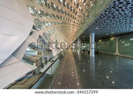 Shenzhen, China, October 25, 2015: Shenzhen Bao'an International Airport in Bao'an District, Shenzhen, Guangdong, China. - stock photo